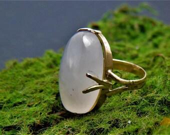 Christmas Sale Art Nouveau Victorian 14k Rose Quartz Ring Size 5