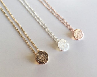 Circle necklace rose gold, platelet round chain