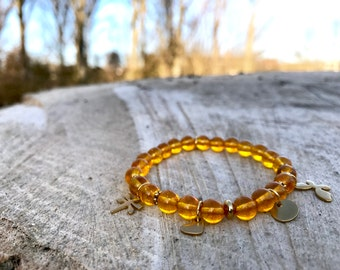 Yoga jewelry. Chakra Stretch Bracelet with healing stone Citrine and stainless steel trailers.