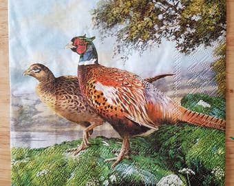 Set of 4 Two Pheasants Square Paper Lunch Napkins Decoupage Crafts Collage #077