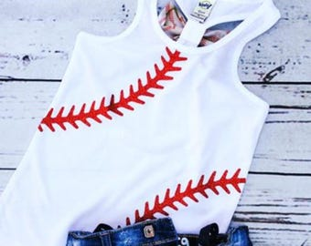 Baseball racer back tank with removable bow