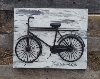 Bicycle Wall Art, Reclaimed Wood And Bicycle Wall Art Shabby Chic Wall Art  Bicycle Wall
