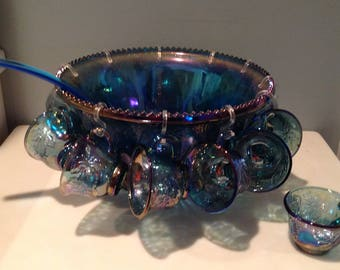 Vintage Blue Carnival Glass Punch Bowl Set with Origional Box