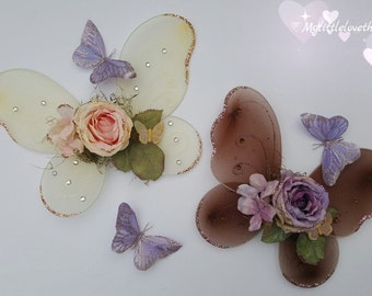 Spring Blush or Lavender Glitter Fairy/Butterfly Wings, Newborn, Toddler and Girl Sized Fairy Wings, Photography Fairy Wing Props
