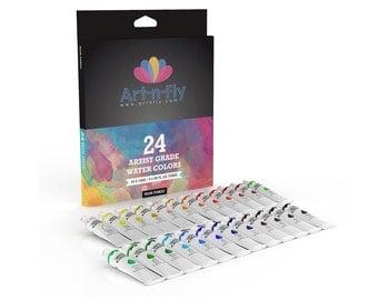 Watercolor Paint Set 24 Colors Professional Artist Grade Pigment Rich Water Color Art Painting Kit