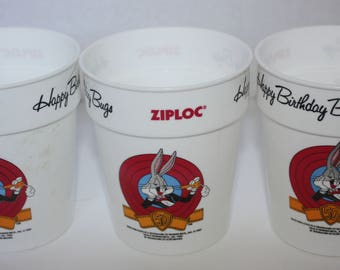 Ziploc Happy 50th Birthday Bug Bunny 1989 Promotional Cup Lot of 3 Road Runner Elmer Fudd