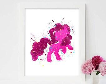 My little pony, My little pony print, my little pony art, pinkie pie watercolor, my little pony wall art, my little pony wall decor