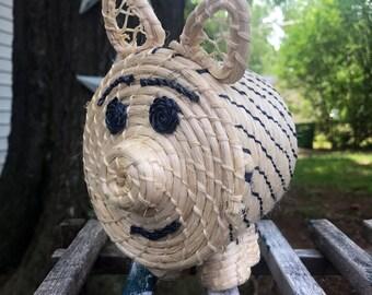 Woven Grass Piggy Bank