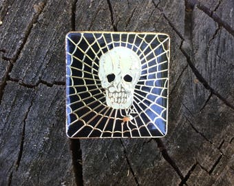 NOS Skull and Spider Web Enamel Pin