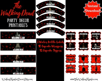 The Walking Dead Printable Party Decor-Cupcake wrappers, Cupcake Toppers and Water Bottle Labels