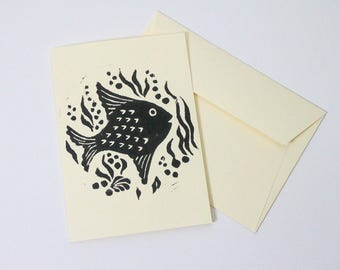 Lino print under the sea card, fish greeting card, hand printed birthday card, handmade cards