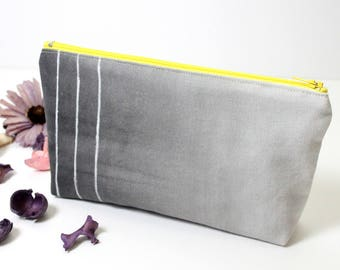 Grey ombre makeup bag, hand painted ombre bag, modern painting canvas bag, grey and yellow pencil case, birthday gift, personalized gifts