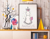 Displays Namaste, Unicorn, Yoga, yoga Unicorn illustration