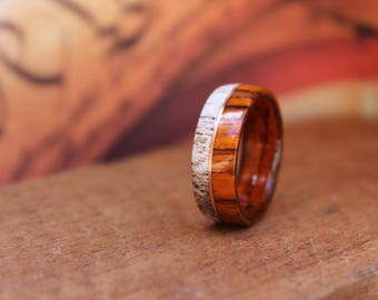 Elk Antler Ring -  Cocobolo wood with Copper Inlay - Bentwood ring Men's wedding ring Mens Wood ring men's engagement ring women anniversary