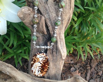 Imperial Jasper with Amber Agate Pendant