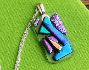 Crazy Dayz of Summer!   Summer Jewelry/ Glass Pendant/ Sterling Silver Chain/Purple Pendant/Summer Necklace