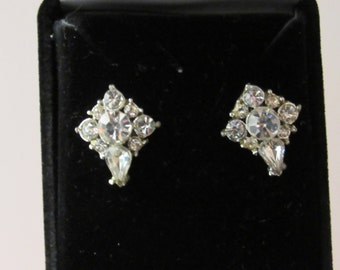 Vintage 1940/50 Crystal Earrings - converted from clip-on to pierced
