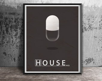 Movie poster print,House MD movie poster printable,Minimalistic film poster,Printables,Instant download,Alternative poster,Movie poster