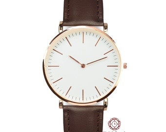 The Classic Brown - Hand Made Water Resistant Gold Wrist Watch (Brown Leather ) mens watch, ladies watch, gift idea, FREE SHIPPING!