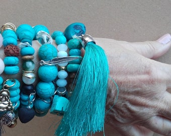 Stacking of the turquoise beads bracelets... it many events