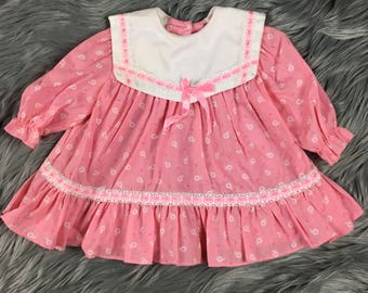 Vintage Baby Girl 12 Months Pink Floral Ruffles Long Sleeve Dress