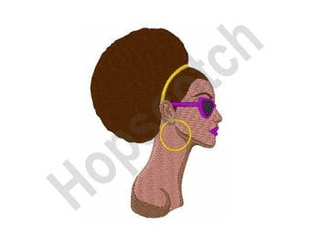 Afro Style American Woman - Machine Embroidery Design