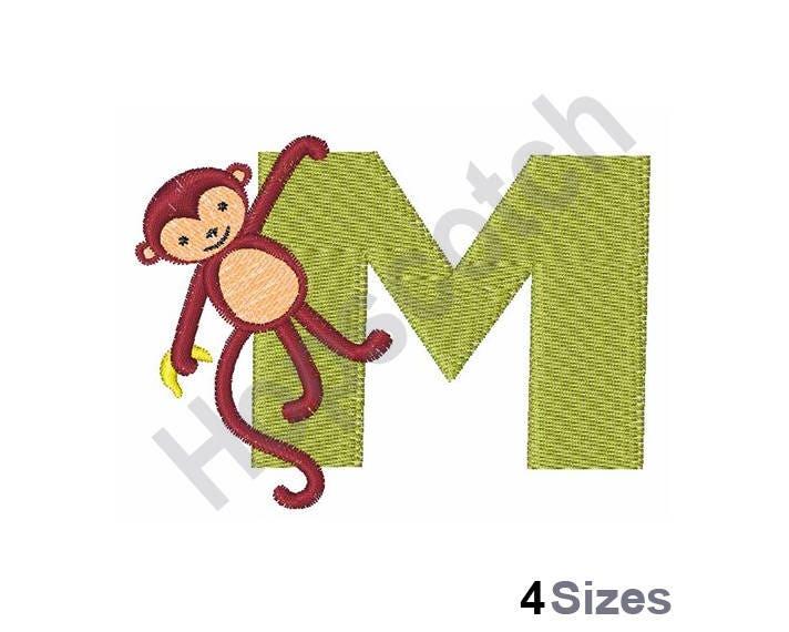 Animal alphabet m monkey machine embroidery design