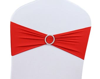 Red Elasticity Stretch Chair cover Band with Buckle Slider Sashes Bow Decor