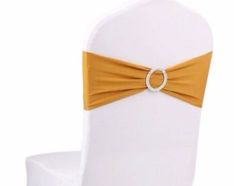 Gold Elasticity Stretch Chair cover Band with Buckle Slider Sashes Bow Decor