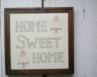 Home Sweet Home - Framed Candlewicking Stitching Home Sweet Home - Handmade Hand Stitched Candlewicking Stitched Home Sweet Home -Farmhouse