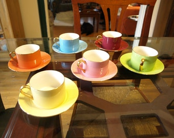 Multi Color CLASSIC COFFE & TEA Set (6) Coffee / Tea Cups with Saucer / Plate, Porcelain