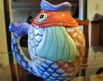 Vintage Hand Painted Ceramic Koi Fish Pitcher / Pot / Container by W.C.L