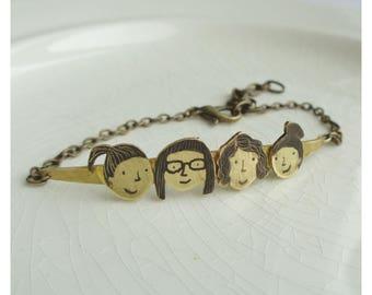 """Brass bracelet """"Girl's power"""""""