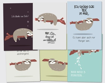 Sloth set postcard folding card greeting card