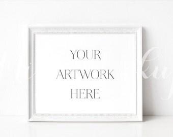 8x10 DIGITAL White Frame Mockup (Landscape) - Stock Photo, Styled Photography, Mock up, prints, illustration, INSTANT DOWNLOAD