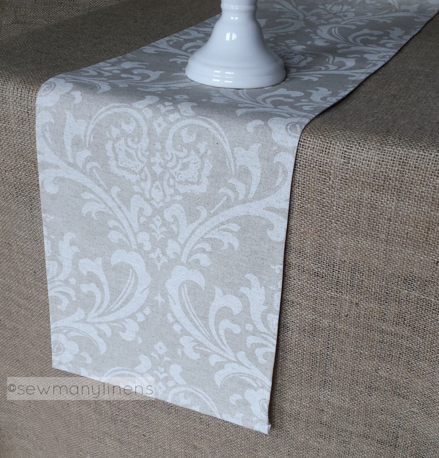 Beige tan taupe ivory table runner floral linens dining - Table basse beige taupe ...