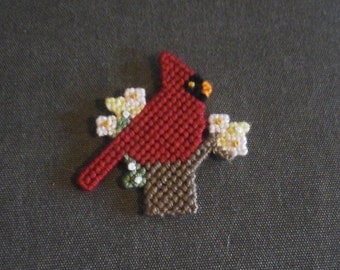 FREE SHIPPING Handmade plastic canvas cardinal with flowers magnet