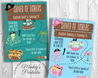 Shiver Me Timbers Birthday Invitation, Pirate Printable Birthday Party Invitation, Treasure Map Birthday Invitation
