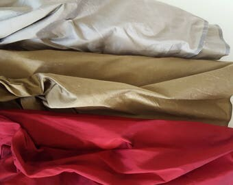 """Dupioni Silk Fabric, Choice of 3 Colors, Red, Khaki Tan, Champagne Gray, Iridescent,Silk, 54""""Wide, Sewing, Home Decor, Upholstery, BTHY, BTY"""