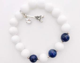 Lapis Lazuli + White Onyx Bracelet with Eiffel Tower & Rhinestone Charms