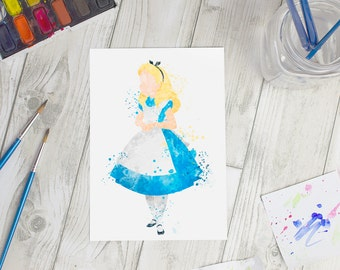 Disney Inspired Alice Watercolour A5 Print