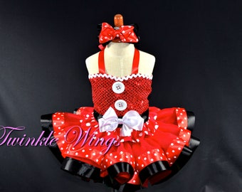 Minnie mouse inspired corset Birthday outfit 12M, 24M, 3Y, 4Y, 5Y Polka dot ribbon