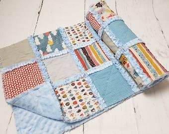 Baby quilt  - minky quilt - modern baby quilt - baby shower gift - boy crib quilt- cloud bedding - baby boy gift - baby boy blanket - baby