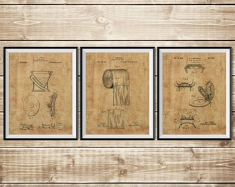 Toilet Printable, Patent Print Set, Bathroom Art Poster, Toilet Art Print, Toilet Sign, Bathroom Sign, Toilet Paper Poster, INSTANT DOWNLOAD
