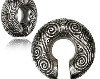 White brass ear weight, (does not tarnish) expander tribal
