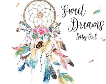 Boho Baby girl blanket, dream catcher, minky and fur, sweet dreams, dream big, stay wild