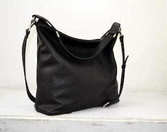 LEATHER HOBO Bag - Oversize Black Hobo -  Leather Tote Bag  - Top Zip - Black Leather - BERLIN -