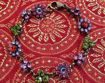 Sorelli Vintage Crystal Floral Bracelet NWOT