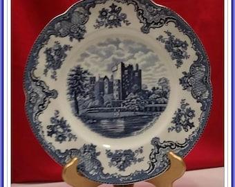 "Vintage Johnson Bros Old Britain Castles Blue 10"" Dinner Plate England"