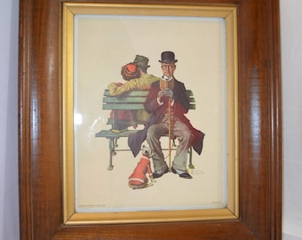 "Framed Norman Rockwell ""Overheard Lovers"" Litho Print - 1973"